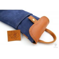 Winnja Full-Grain Keyboard Leather Bag Carrier Blue Brown