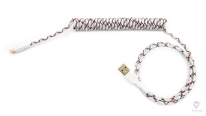 Coiled Baseball Parcord Sleeved Cable