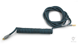 Coiled Teal and Carbon PET Cable